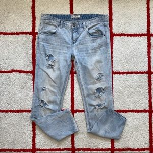 Free People Distressed Skinny Jeans in Light Wash